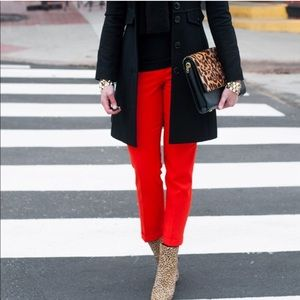 J Crew Red Wool Cafe Capri Cuffed Ankle Pants 4